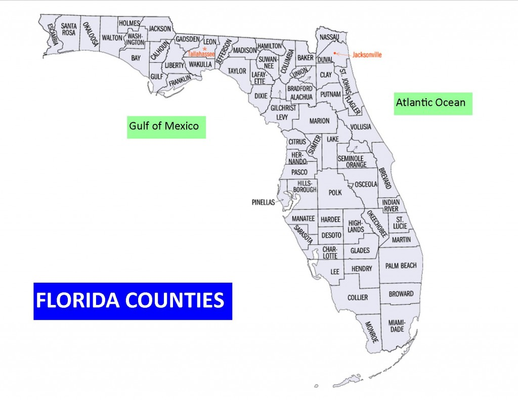 Map of Florida showing Counties